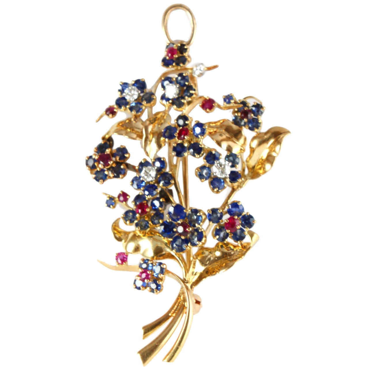 18k Yellow Gold 1948 Mauboussin Ruby Sapphire Diamond Flower Brooch or Pendant