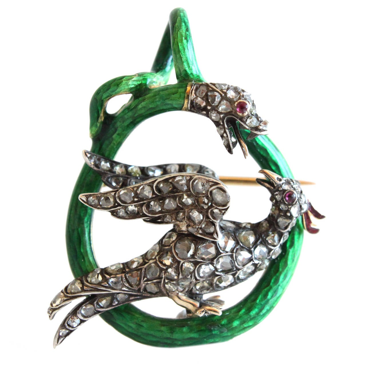 Victorian Enamel Diamond Ruby Snake and Phoenix Brooch Pendant 1