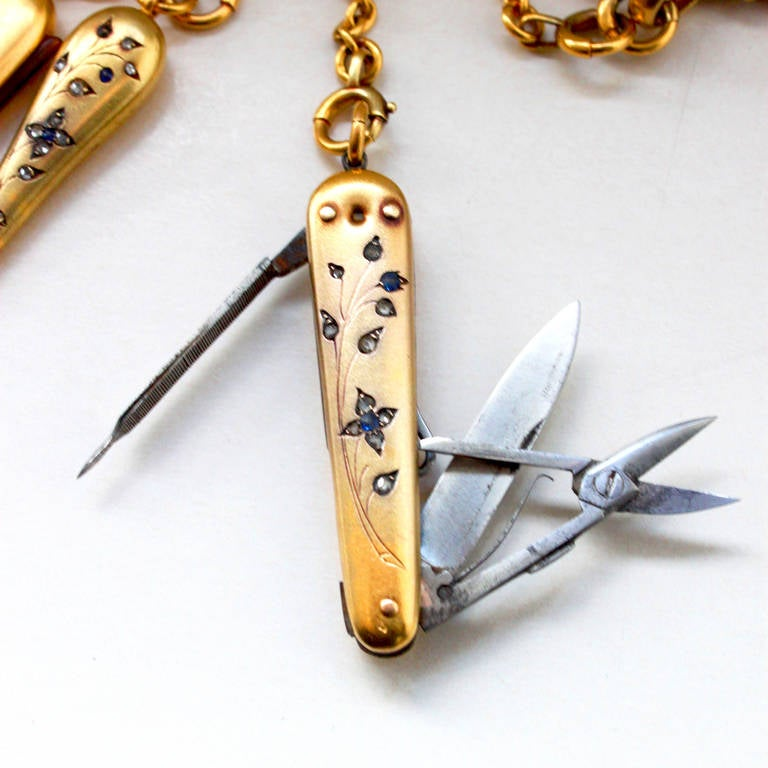 19th Century Sapphire Diamond Gold Chatelaine At 1stdibs