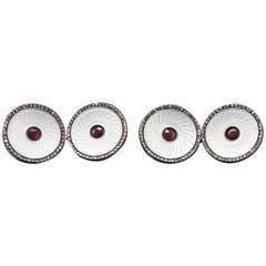 Faberge Enamel Diamond Cufflinks