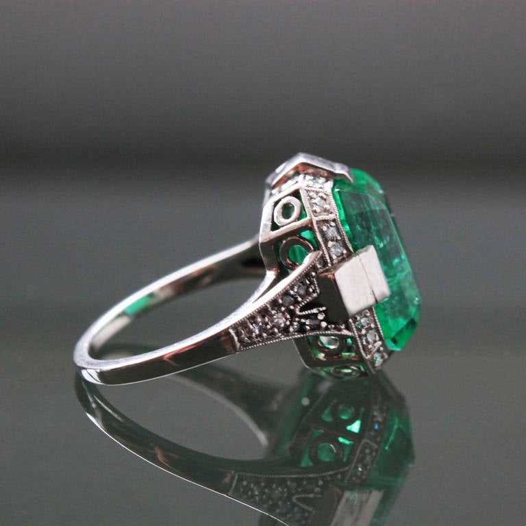 deco emerald ring at 1stdibs