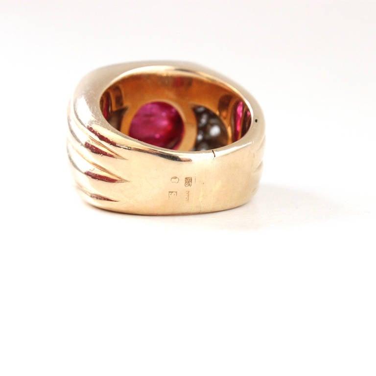 Women's Big Ruby Diamond Gold Retro Ring For Sale