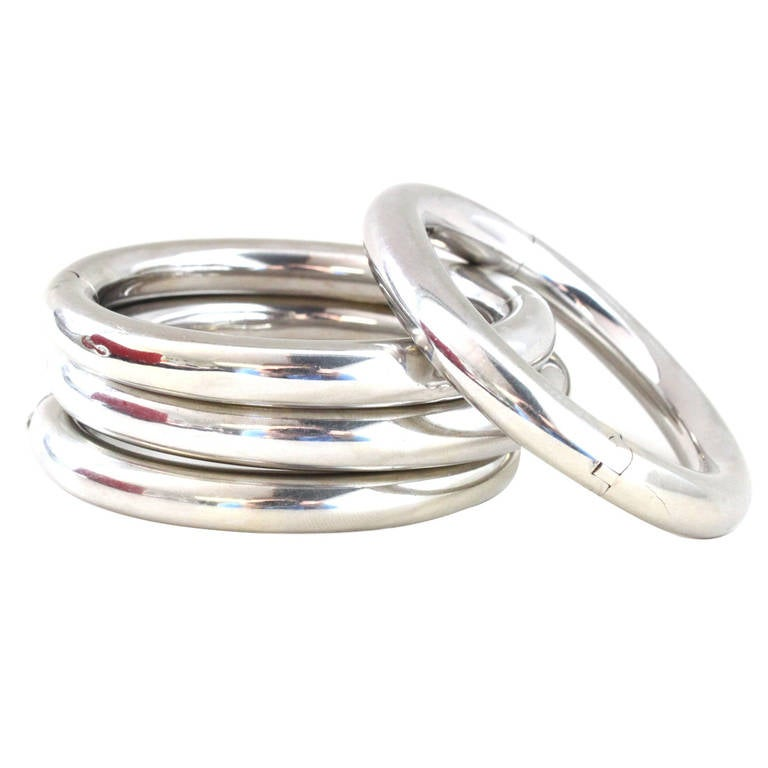 four italian white gold bangles at 1stdibs