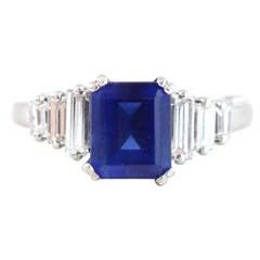 Burma Sapphire Diamond Ring