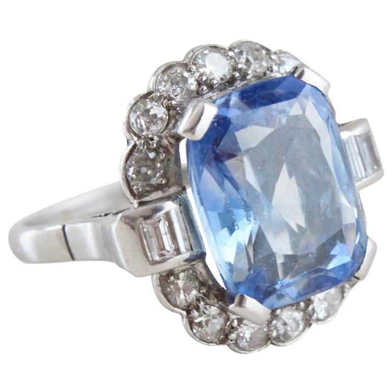 French Sapphire Diamond Platinum Girda Ring