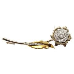 Diamond Flower Brooch