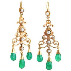 Pearl Emerald Diamond Chandelier Earrings