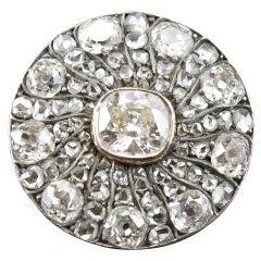 Victorian Diamond Round Brooch, 1880s