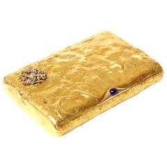 Faberge Samorodok Sapphire Diamond Gold Cigarette Case