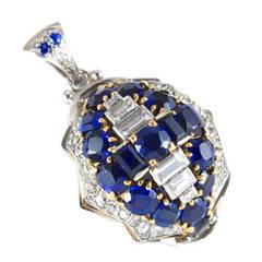 Retro Diamond Sapphire Dome Pendant