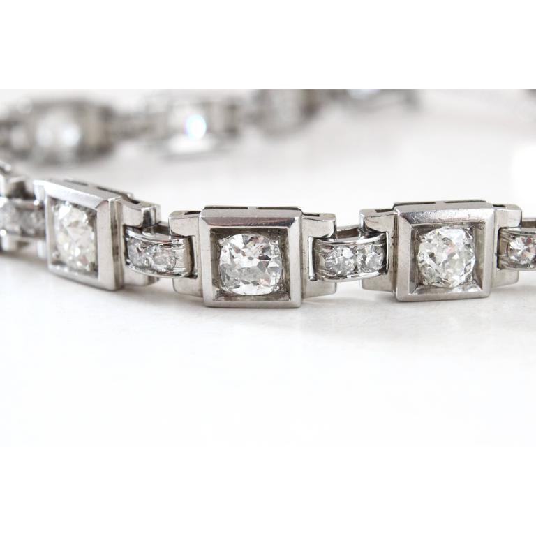 1930s French Art Deco Diamond Platinum Geometric Bracelet For Sale 1