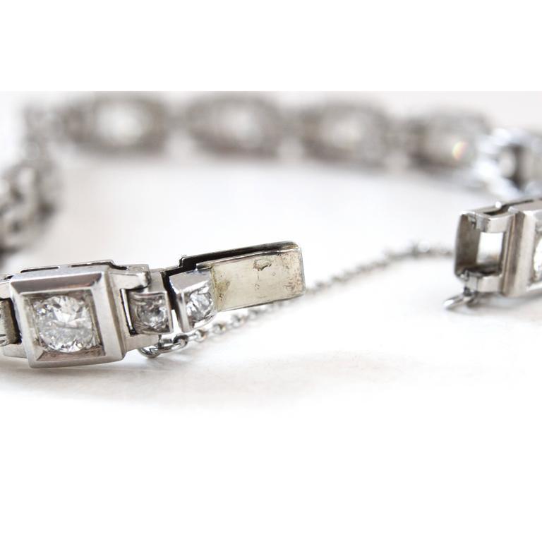 1930s French Art Deco Diamond Platinum Geometric Bracelet For Sale 3