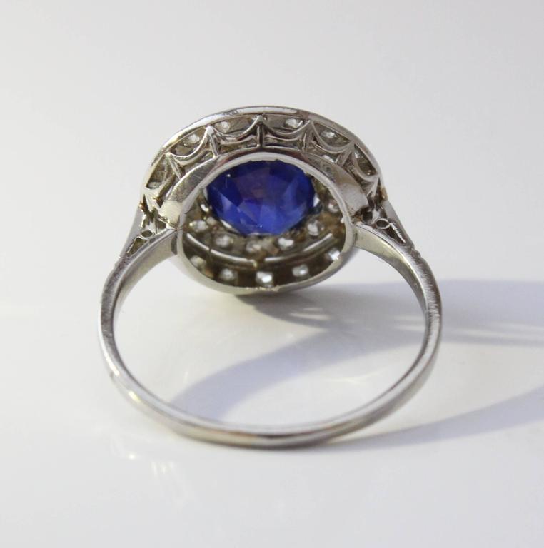 Edwardian Natural Burma Sapphire Diamond Platinum Ring In Excellent Condition For Sale In Idar-Oberstein, DE