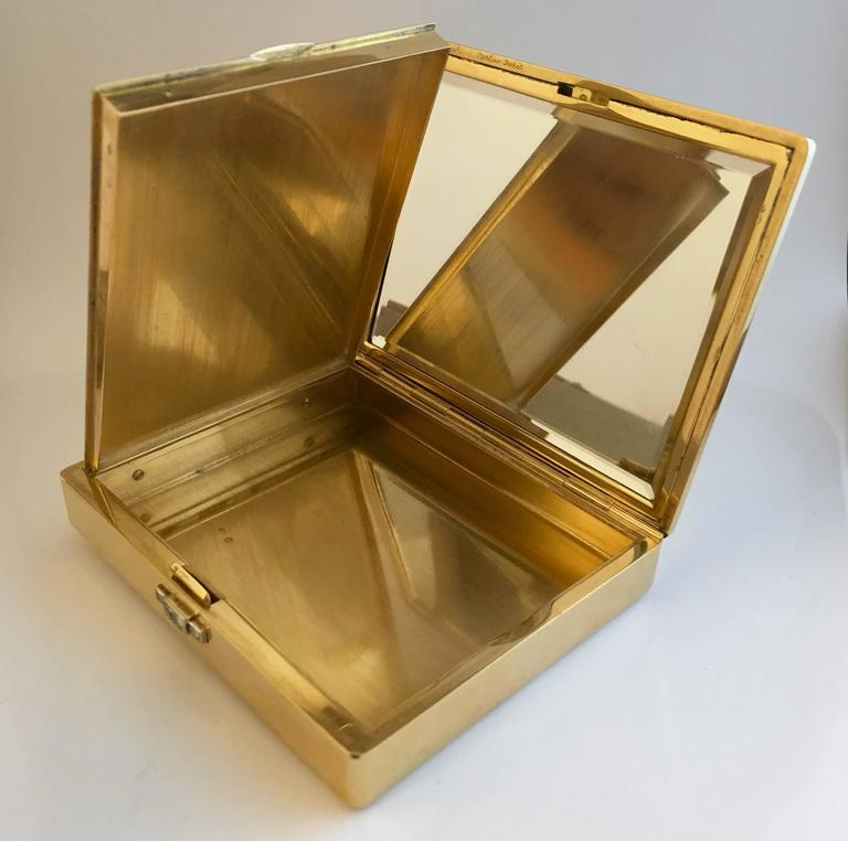 Women's Cartier Paris 1940s 18K Gold Diamond Compact Cigarette Case For Sale