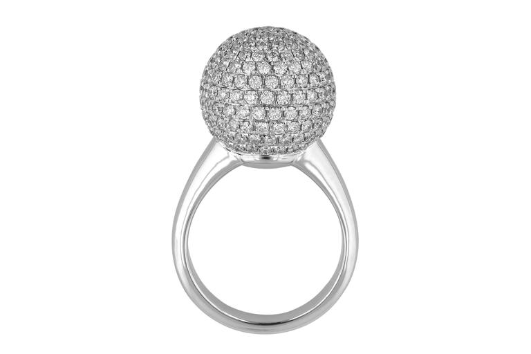 3.10 Carat Round Cut Natural Diamond White Gold Cocktail Ring 2