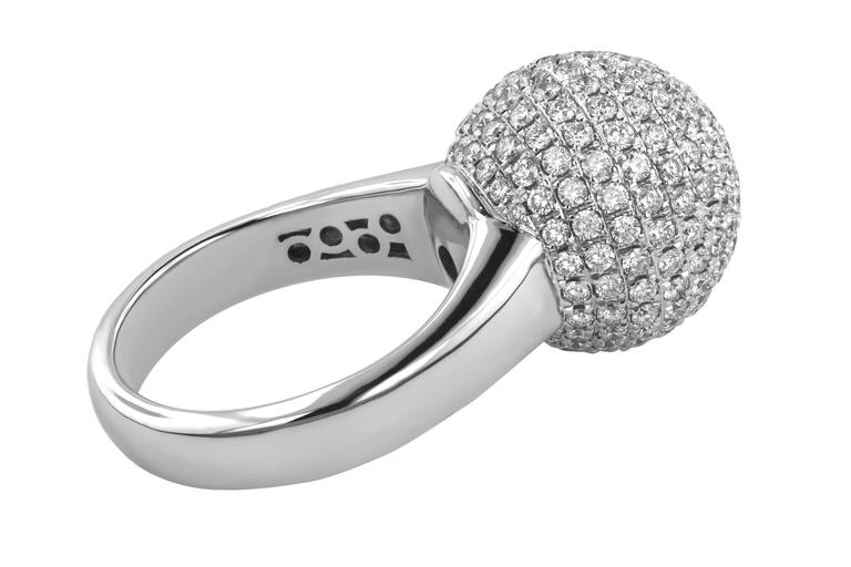3.10 Carat Round Cut Natural Diamond White Gold Cocktail Ring 4