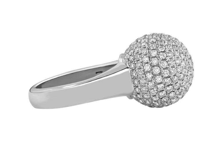 3.10 Carat Round Cut Natural Diamond White Gold Cocktail Ring 5