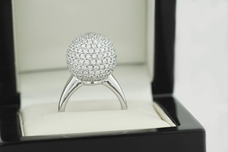 3.10 Carat Round Cut Natural Diamond White Gold Cocktail Ring 6
