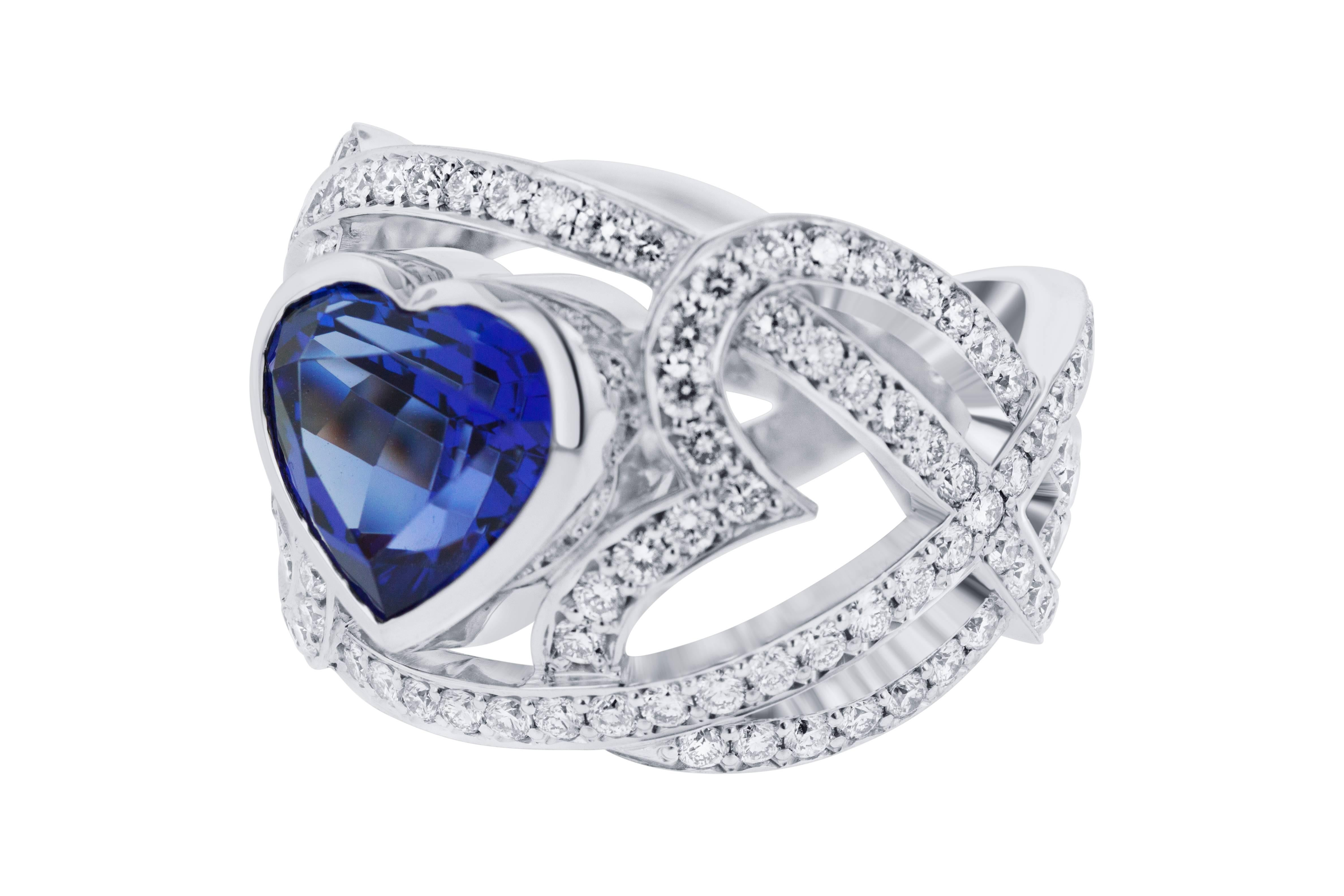 ring diamond and pin sapphire infinity
