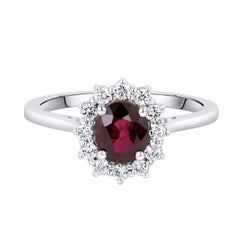 1.05 Carat Ruby Diamond Belle Époque Inspired White Gold Engagement Ring