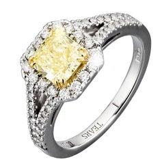 HRD Certified 1.81 Carat Fancy Yellow VVS2 VG/VG Natural Diamond Halo Ring