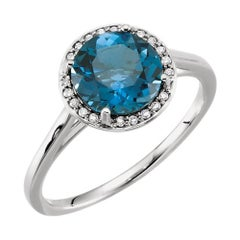 London Blue Topaz and Diamond Cocktail Ring 14 Karat White Gold