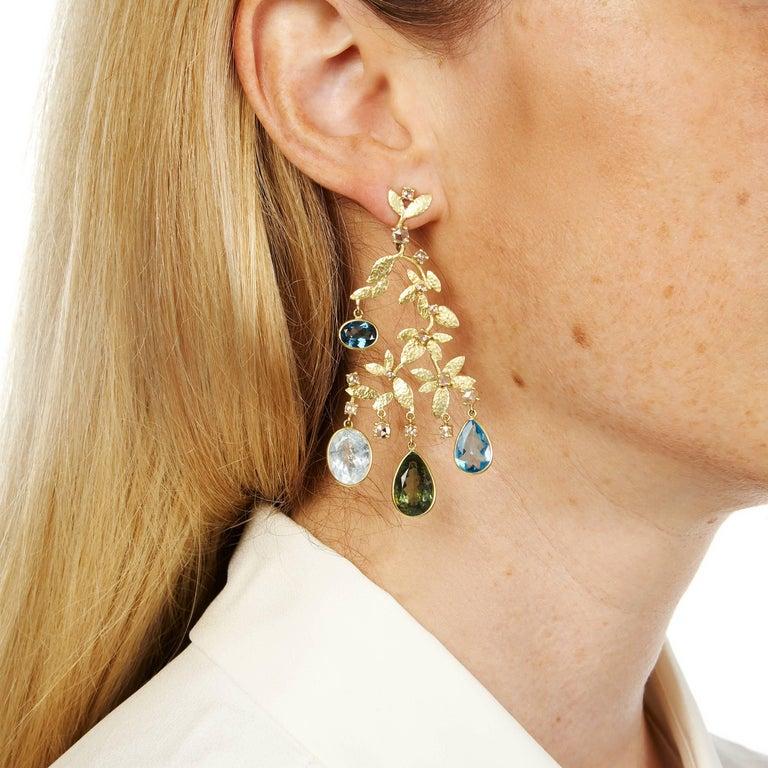 Flowers and Rain Diamond Tourmaline Aquamarine Blue Green Chandelier Earrings 2
