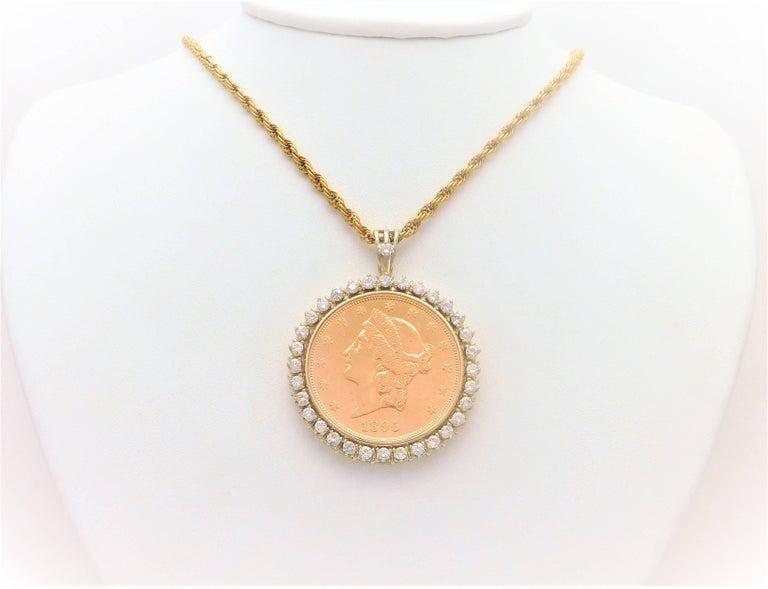 Diamond usa 1895 s twenty dollar coin pendant at 1stdibs 320ct diamond usa 1895 s twenty dollar coin pendant from a noble new orleans aloadofball Images