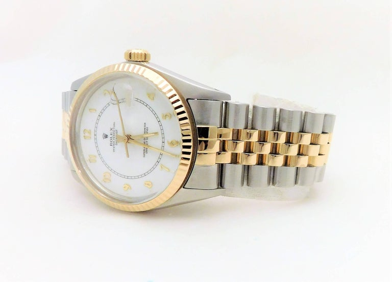 Women's or Men's Rolex Yellow Gold Stainless Steel Datejust Vintage Automatic Wristwatch For Sale