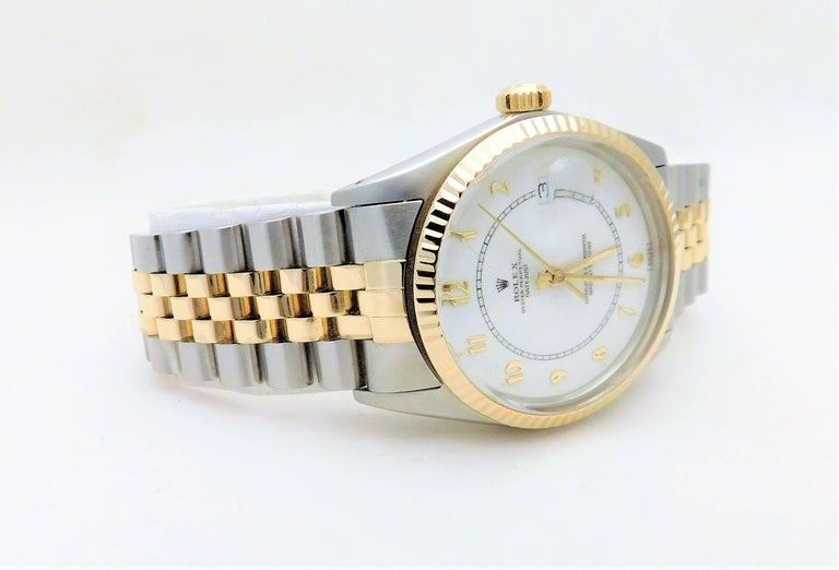 Rolex Yellow Gold Stainless Steel Datejust Vintage Automatic Wristwatch In Excellent Condition For Sale In Metairie, LA