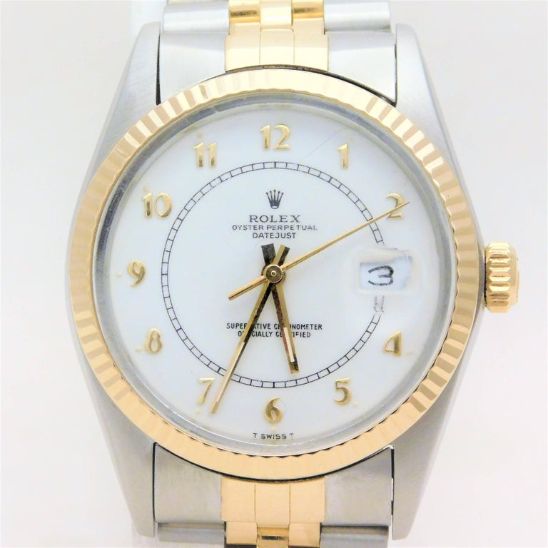 Rolex Yellow Gold Stainless Steel Datejust Vintage Automatic Wristwatch For Sale 3