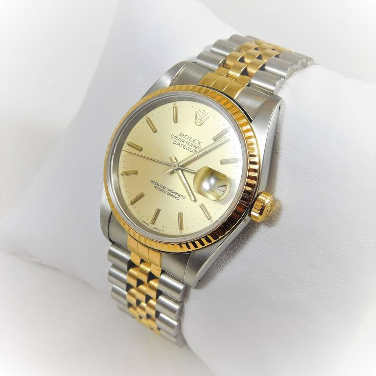 Rolex yellow gold Stainless Steel Oyster Perpetual Datejust Automatic Wristwatch 4