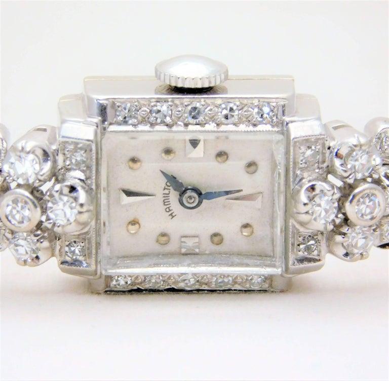 Hamilton Ladies White Gold Diamond Art Deco Luxury Manual Wristwatch 2