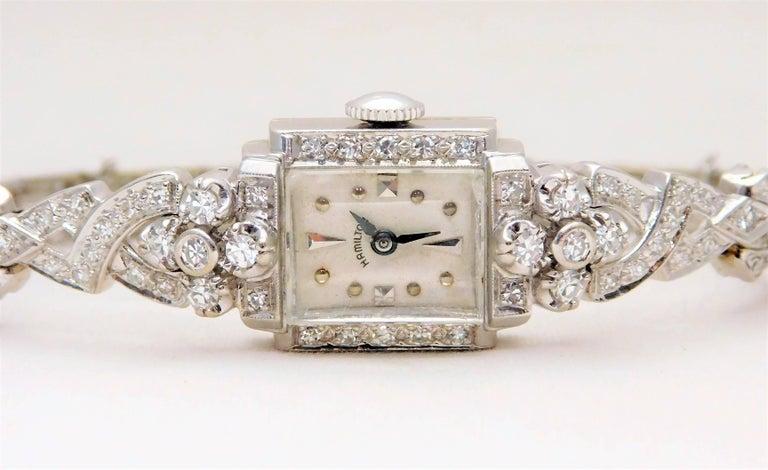 Hamilton Ladies White Gold Diamond Art Deco Luxury Manual Wristwatch 3