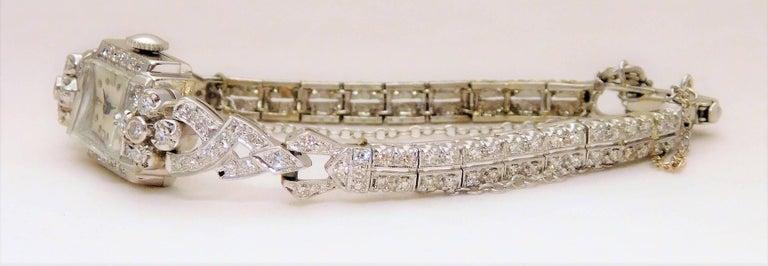 Hamilton Ladies White Gold Diamond Art Deco Luxury Manual Wristwatch 4