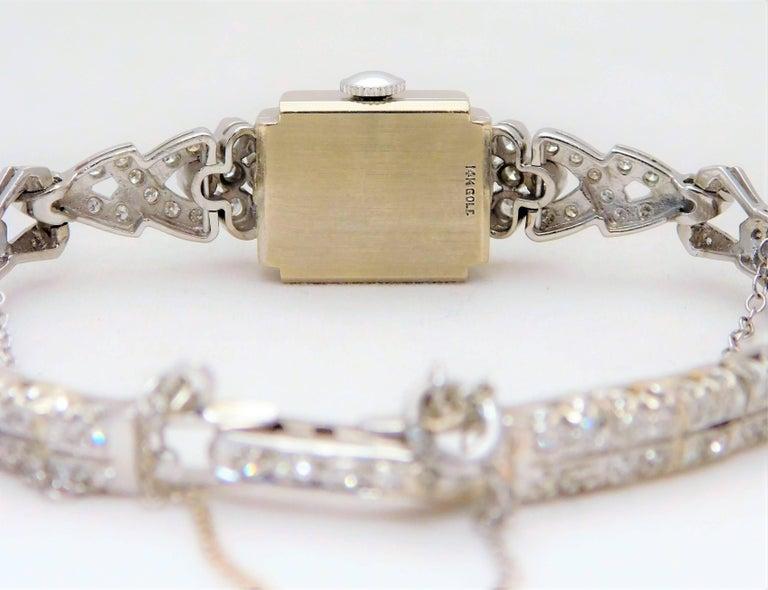 Hamilton Ladies White Gold Diamond Art Deco Luxury Manual Wristwatch 5