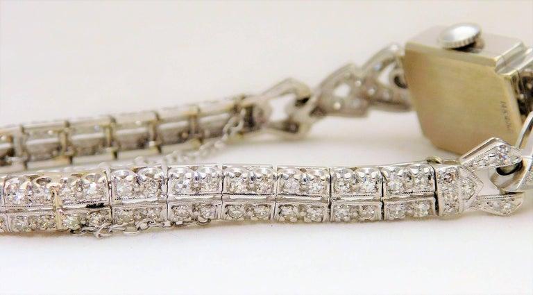 Hamilton Ladies White Gold Diamond Art Deco Luxury Manual Wristwatch 7
