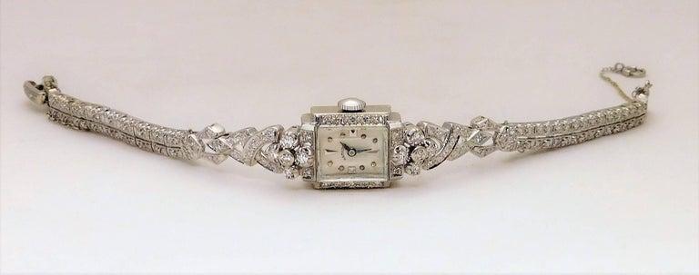 Hamilton Ladies White Gold Diamond Art Deco Luxury Manual Wristwatch 8