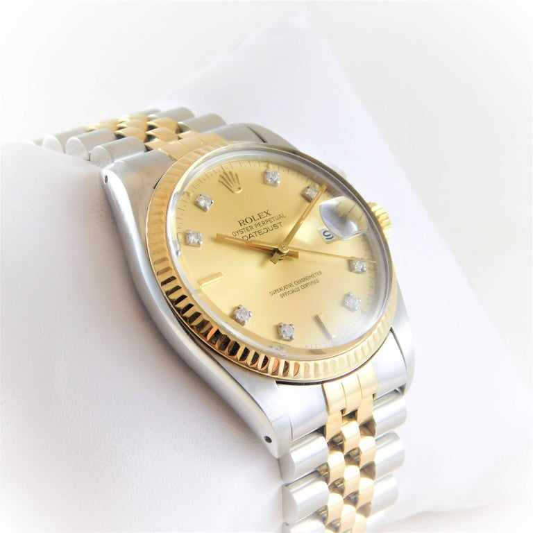 Rolex Yellow Gold Stainless Steel Oyster Perpetual Datejust Automatic Wristwatch 2
