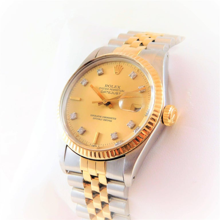 Rolex Yellow Gold Stainless Steel Oyster Perpetual Datejust Automatic Wristwatch In Excellent Condition For Sale In Metairie, LA