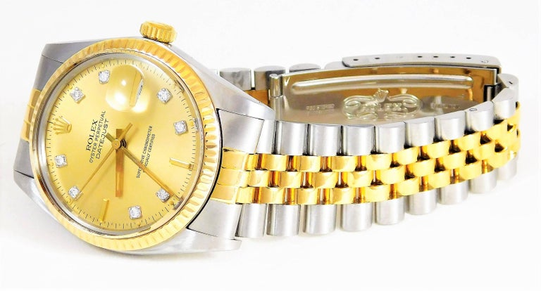 Women's or Men's Rolex Yellow Gold Stainless Steel Oyster Perpetual Datejust Automatic Wristwatch For Sale