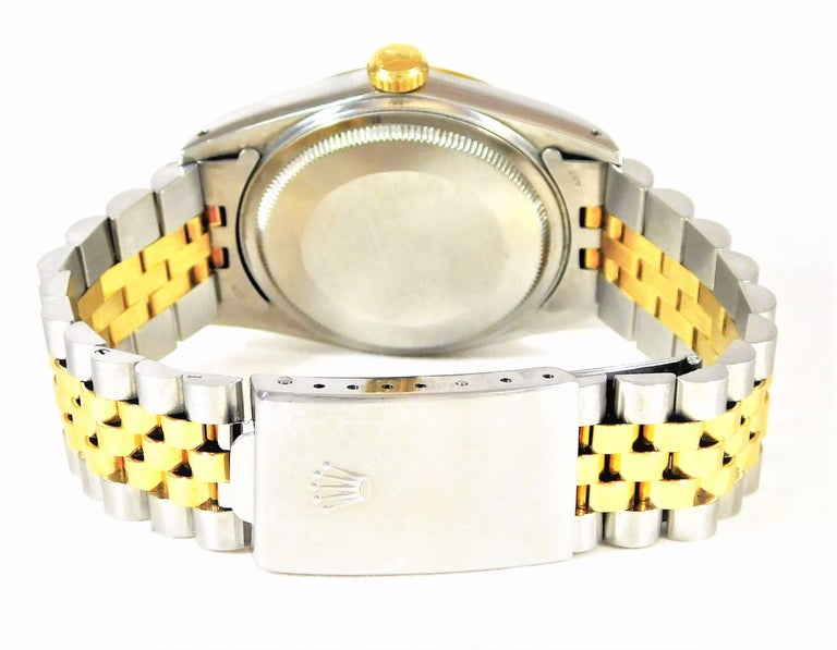 Rolex Yellow Gold Stainless Steel Oyster Perpetual Datejust Automatic Wristwatch For Sale 1