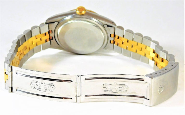 Rolex Yellow Gold Stainless Steel Oyster Perpetual Datejust Automatic Wristwatch For Sale 2