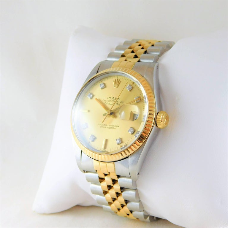 Rolex Yellow Gold Stainless Steel Oyster Perpetual Datejust Automatic Wristwatch For Sale 3