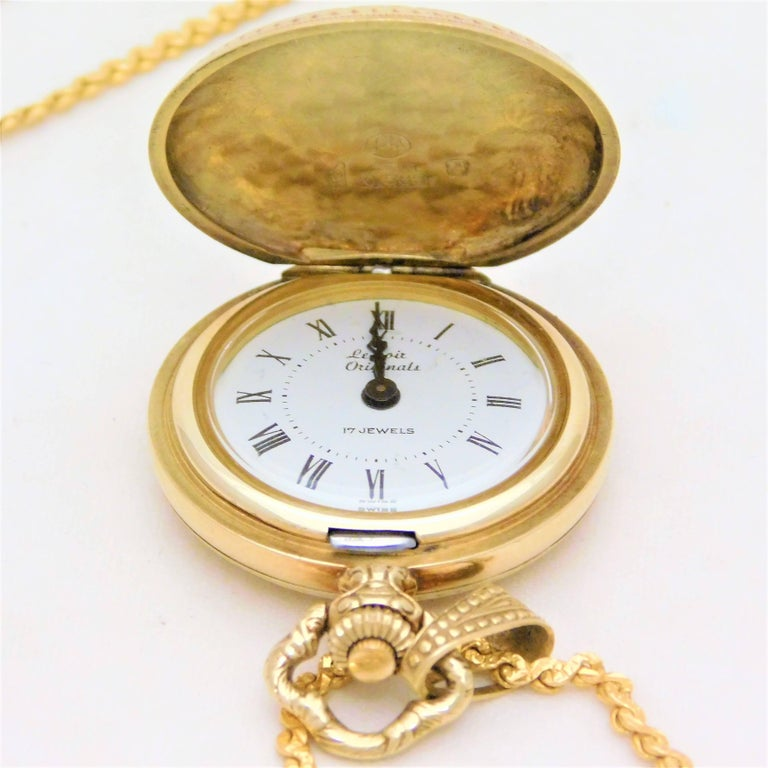 Art Deco Le Soir Yellow Gold Antique Pocket Watch Pendant Necklace For Sale