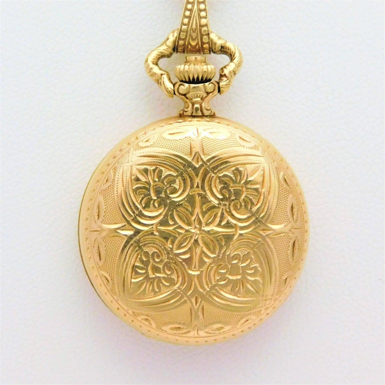 Le Soir Yellow Gold Antique Pocket Watch Pendant Necklace In Excellent Condition For Sale In Metairie, LA