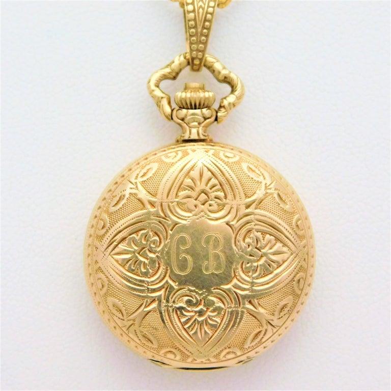 Women's or Men's Le Soir Yellow Gold Antique Pocket Watch Pendant Necklace For Sale