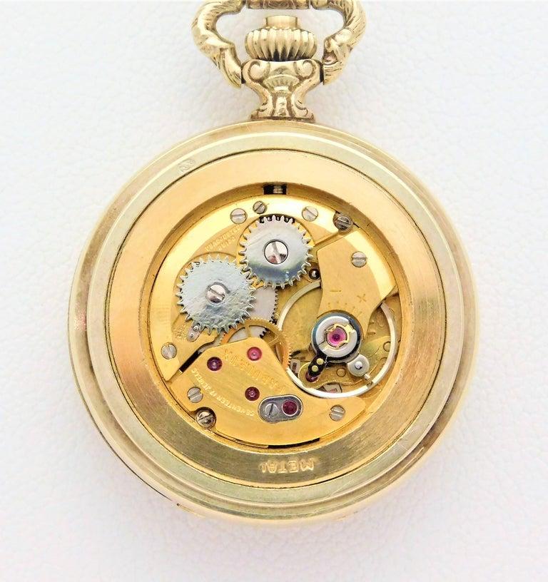Le Soir Yellow Gold Antique Pocket Watch Pendant Necklace For Sale 1