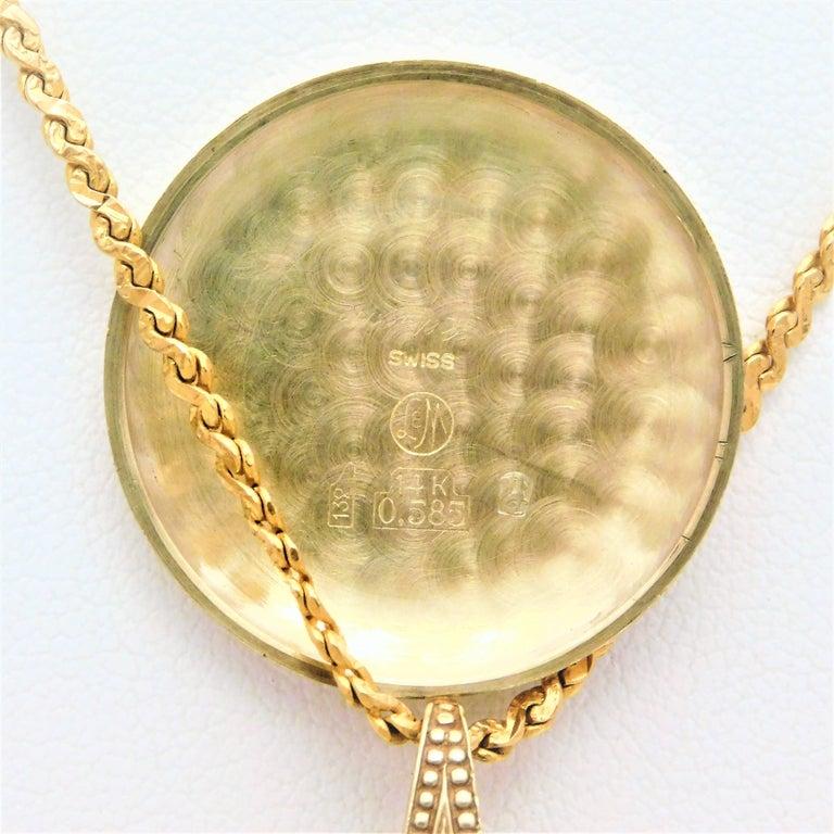 Le Soir Yellow Gold Antique Pocket Watch Pendant Necklace For Sale 3