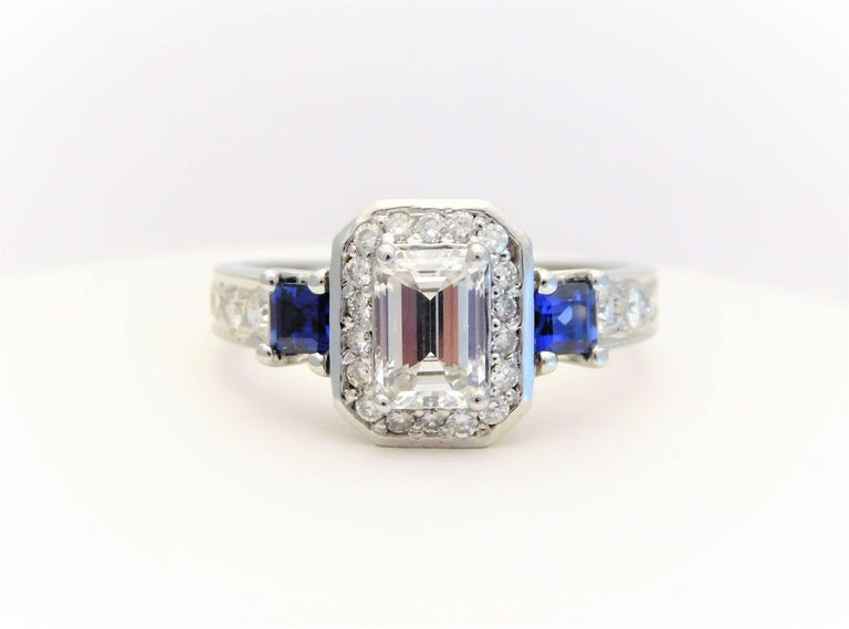 Art Deco GIA Certified 14 Karat Emerald-Cut Diamond and Ceylon Sapphire Engagement Ring For Sale